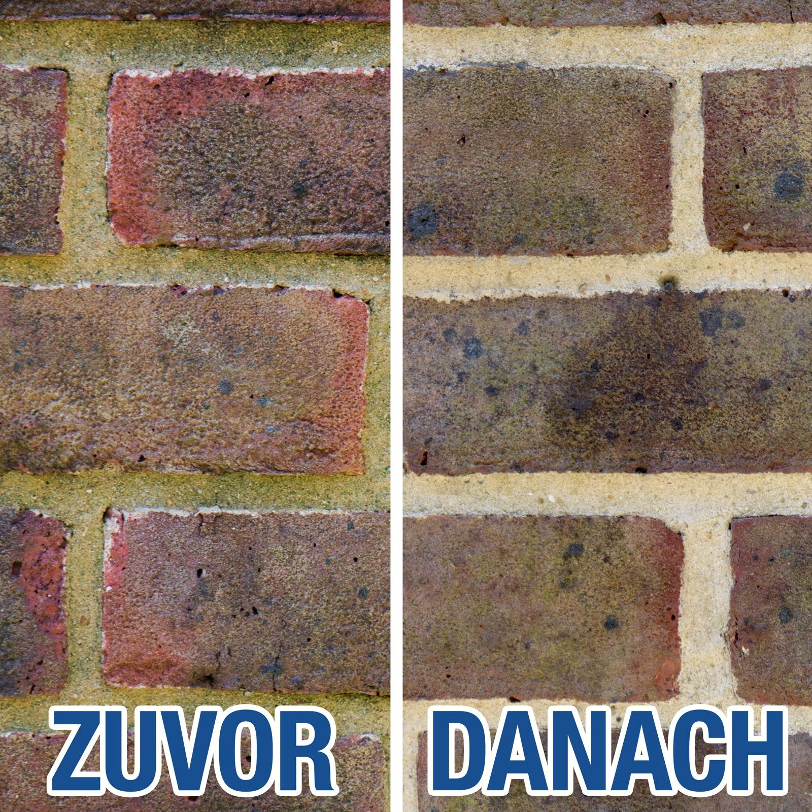 Vor und nach der Behandlung mit Stormdry Fassadenreiniger