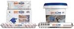 Das Dryzone Express System zur Wiederverputzung: Dryshield Creme, Drygrip Klebstoff, Dryzone Horizontalsperre-Creme and Dryrod Hochleistungs-Horizontalsperre