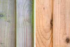 Vergleich von verschmutzem und mit Roxil Reiniger gereinigtem Holz
