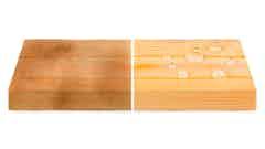 Verleich von verfärbtem Holz und mit Roxil behandeltem, natürlich aussehendem Holz