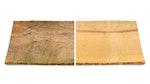 Vergleich von Schimmel- und Algenwachstum auf unbehandeltem Holz und sauberer, mit Roxil behandelter Holzoberfläche