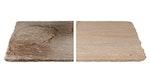 Vergleich von unbehandelter, verschmutzter Oberfläche und sauberer, mit Roxil behandelter Oberfläche